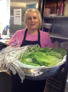 Mary makes Caesar Salad from our garden lettuce!