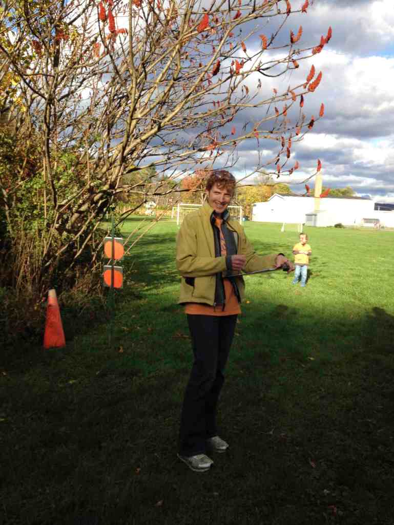 Elaine checking woods runners