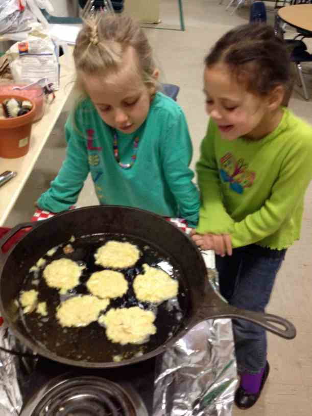 frying latkes