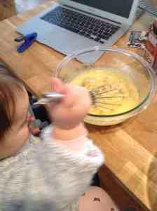 mixing eggs, oil, sugar and bananas