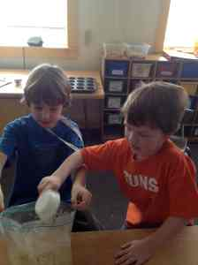 measuring and adding ingredients