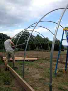 Hoop House construction continued
