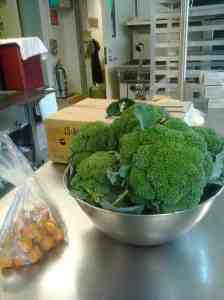 Garden produce in the school kitchen
