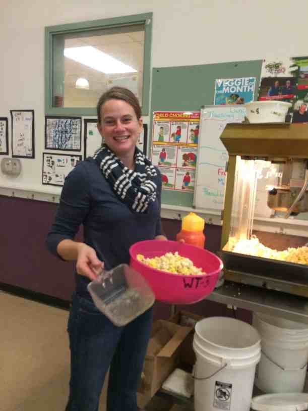 Amy Rice Sciacca making popcorn for the schools.