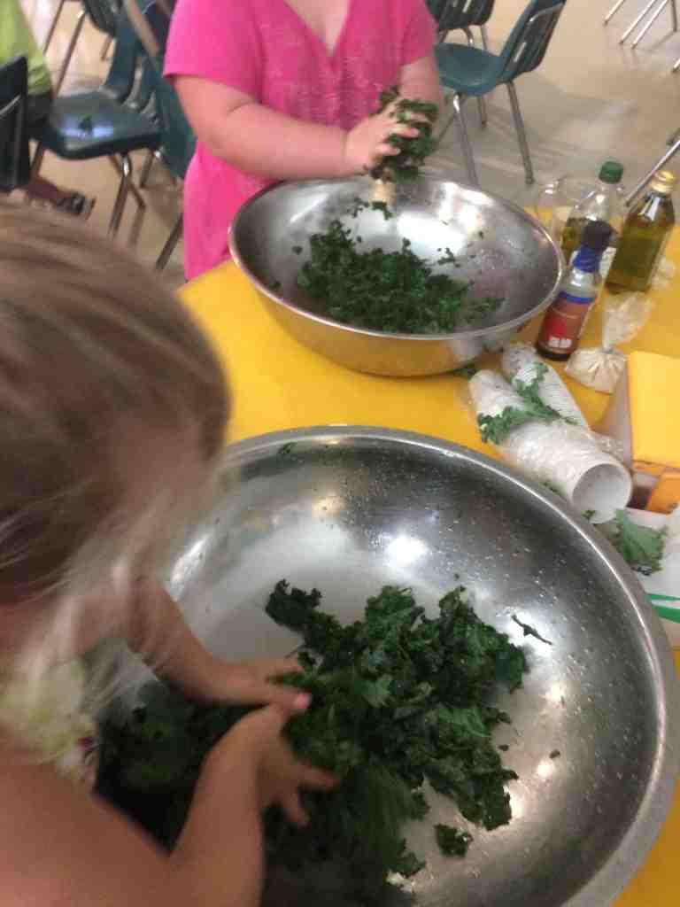 massaging kale salad